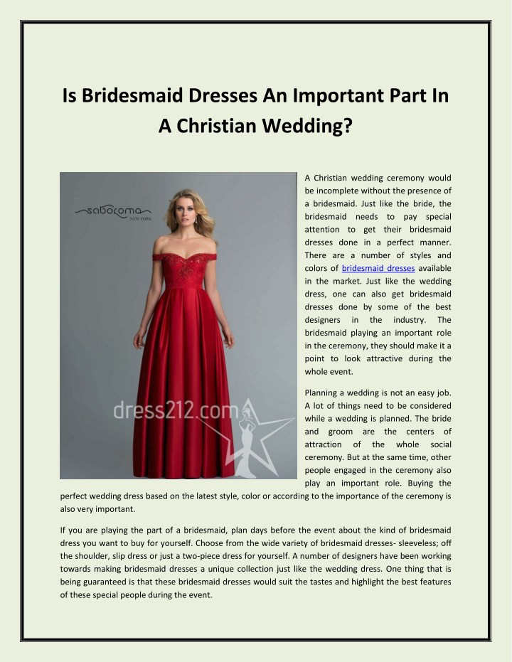 is bridesmaid dresses an important part n.
