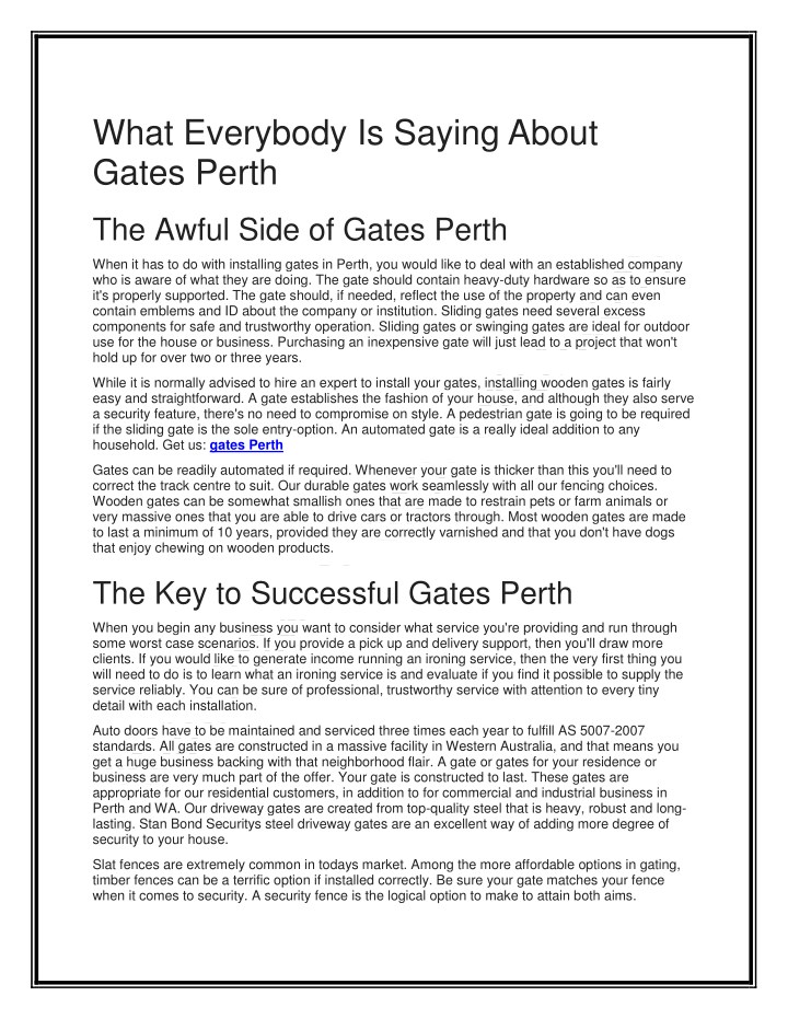 what everybody is saying about gates perth n.