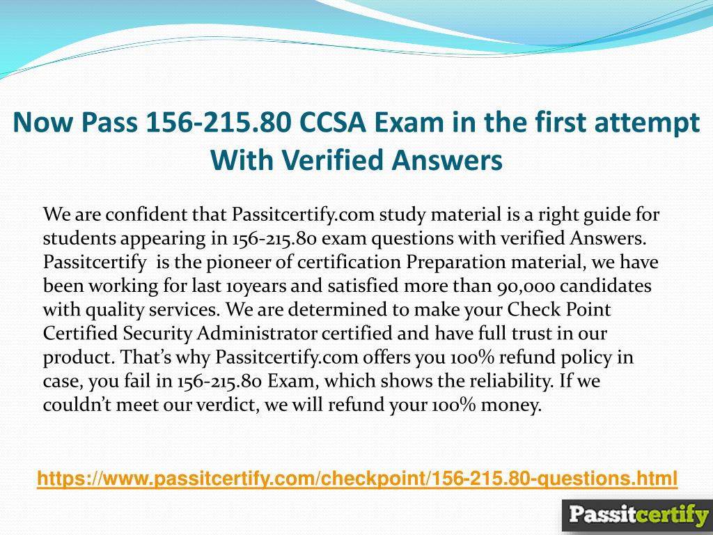 PPT - 2018 Updated Exams CheckPoint CCSA 156-215 80 Exam