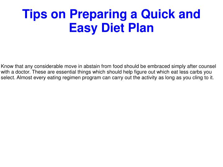 tips on preparing a quick and easy diet plan n.