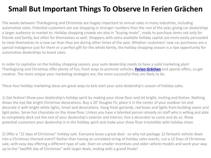 small but important things to observe in ferien gr chen n.
