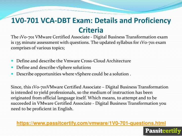 PPT - 1V0-701 VMware VCA-DBT Exam Dumps PowerPoint Presentation - ID ...