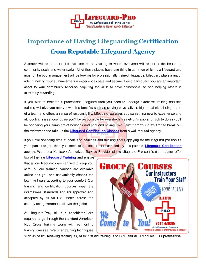 Ppt Lifeguard Certification Classes Powerpoint Presentation Id