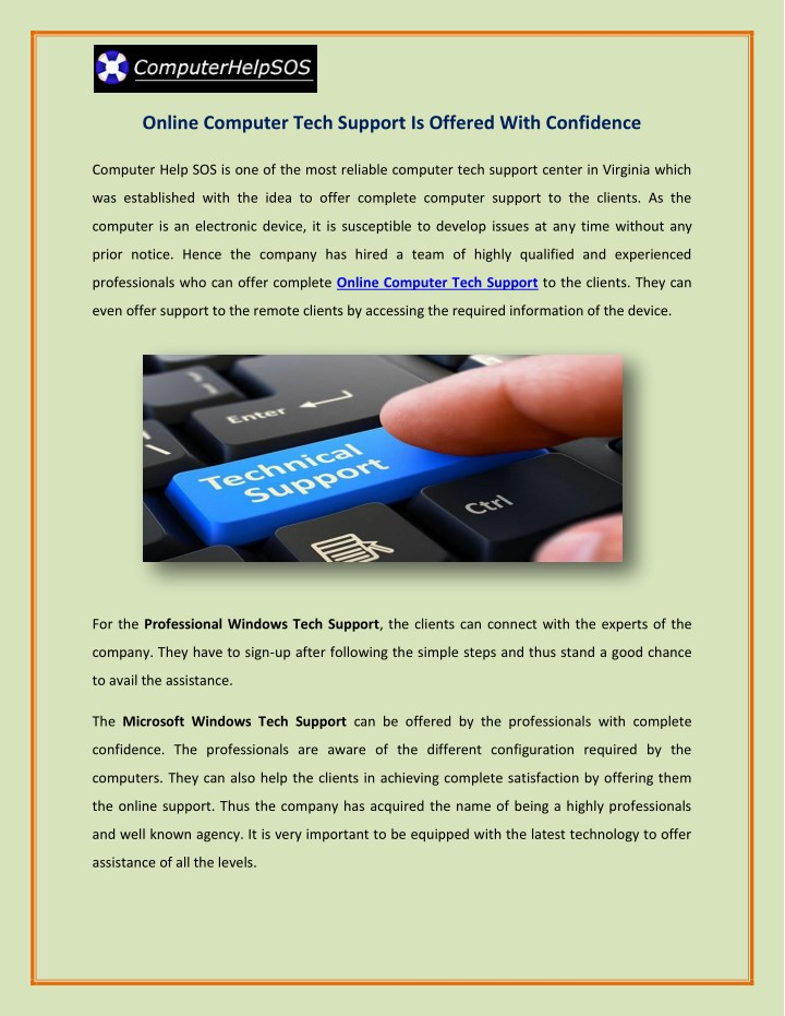 online computer tech support is offered with n.