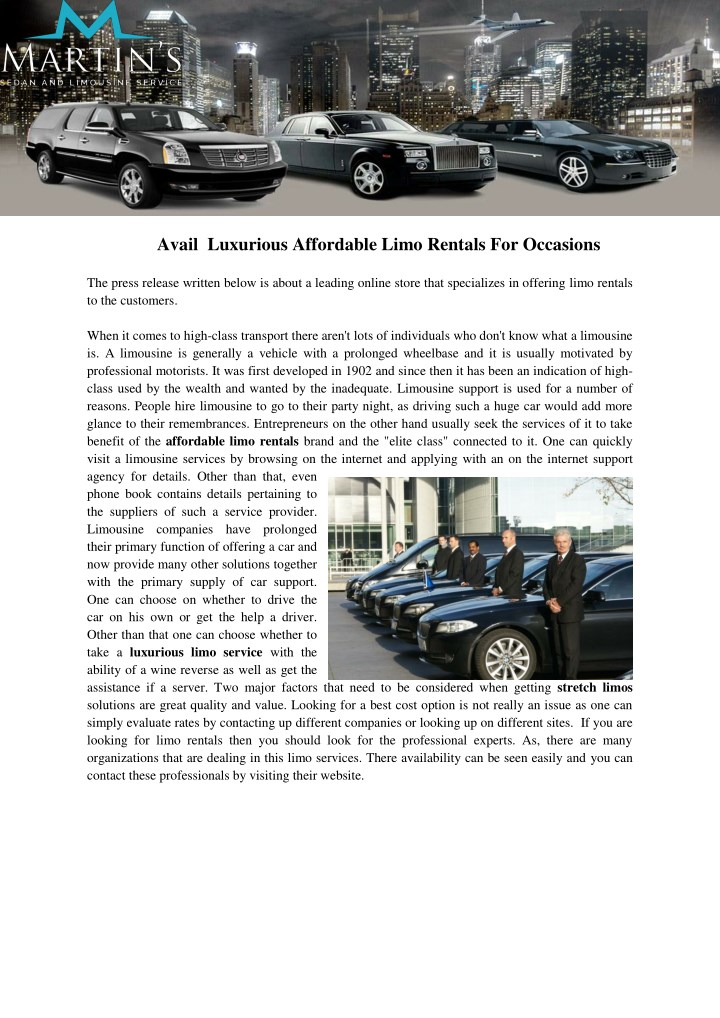 avail luxurious affordable limo rentals n.