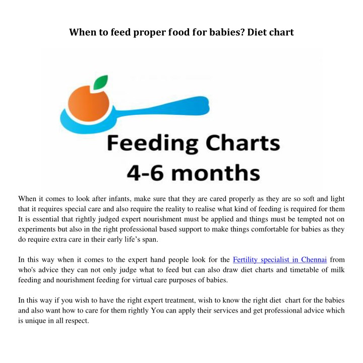 when to feed proper food for babies diet chart n.