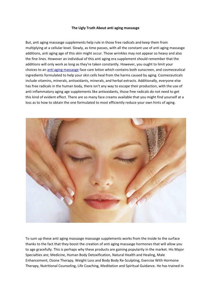 the ugly truth about anti aging massasge n.