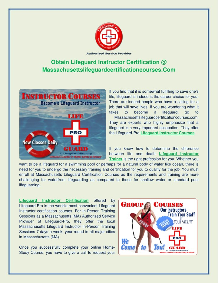 PPT - Lifeguard Instructor Certification PowerPoint Presentation ...