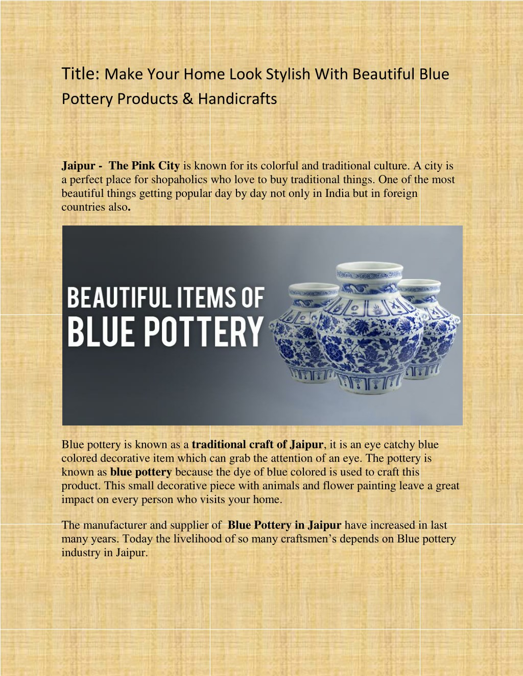 Ppt Make Your Home Look Stylish With Beautiful Blue Pottery