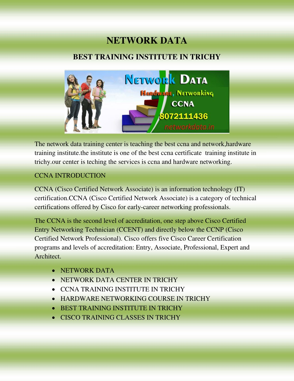 Ppt Cisco Certified Network Associate Training In Trichy