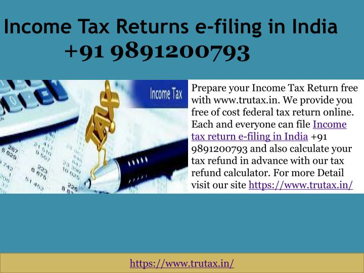 free e filing of income tax return in india