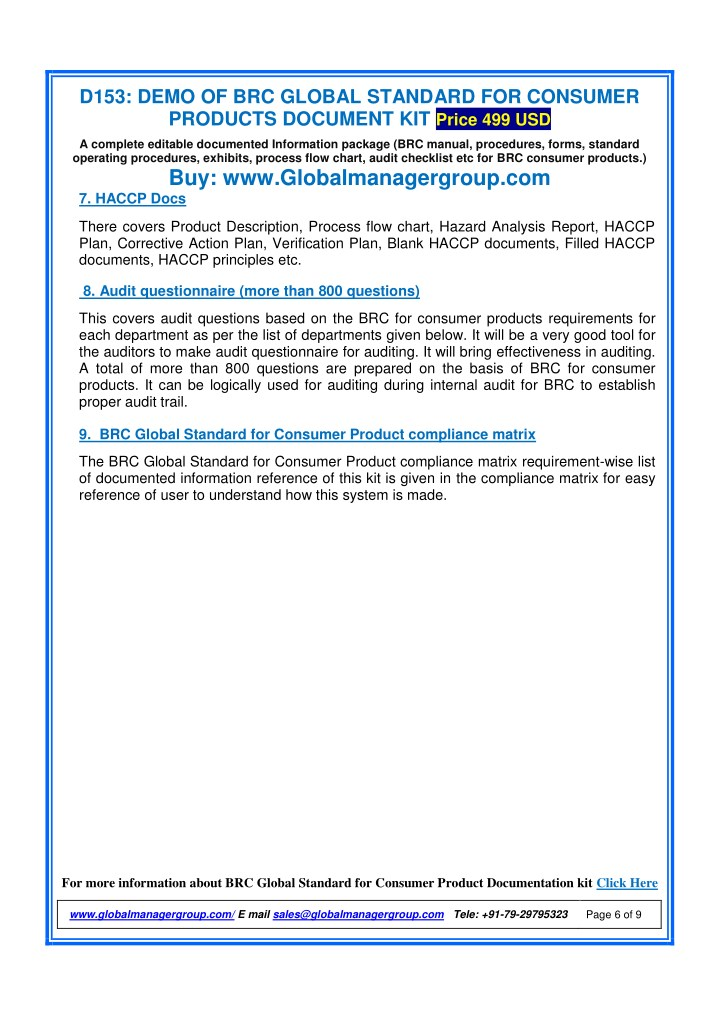 Ppt Readymade Documents For Brc Consumer Product Certification