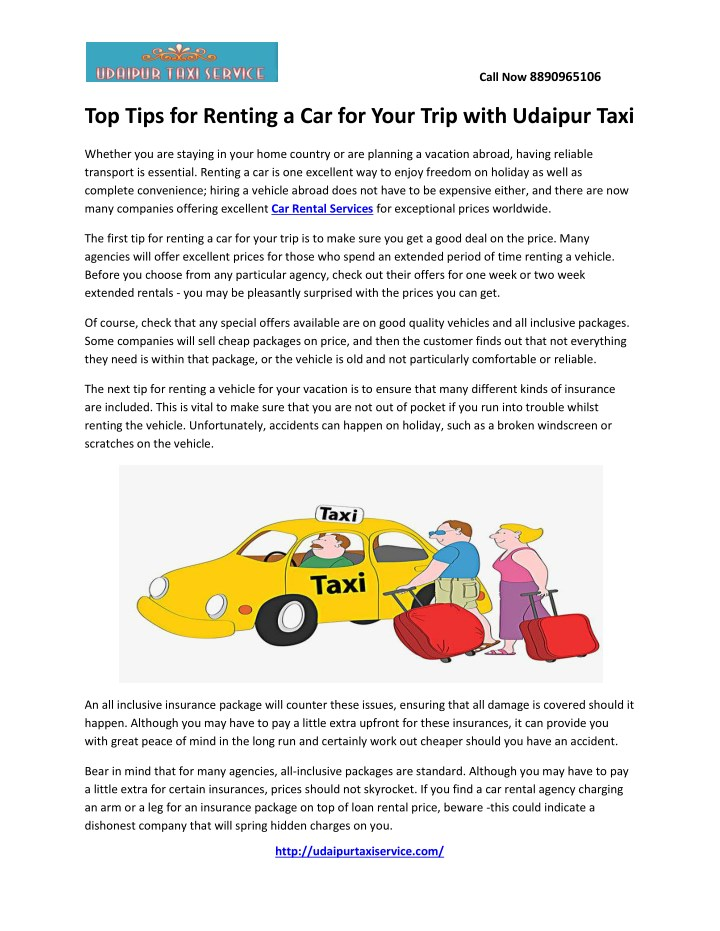 PPT - Top Tips for Renting a Car for Your Trip with Udaipur