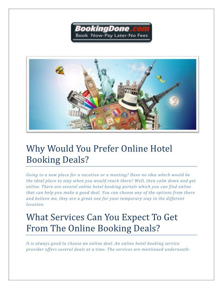 why would you prefer online hotel booking deals n.
