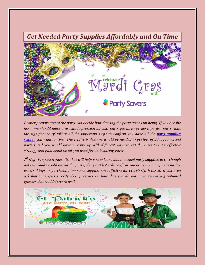 get needed party supplies affordably and on time n.