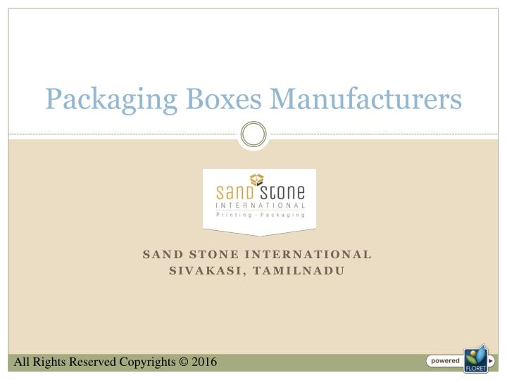 packaging boxes manufacturers n.