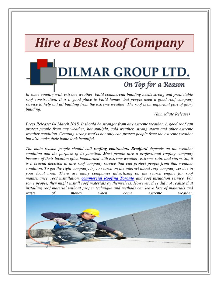 hire a best roof company n.