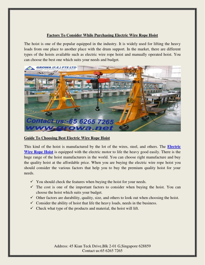 PPT - Factors To Consider While Purchasing Electric Wire Rope Hoist ...