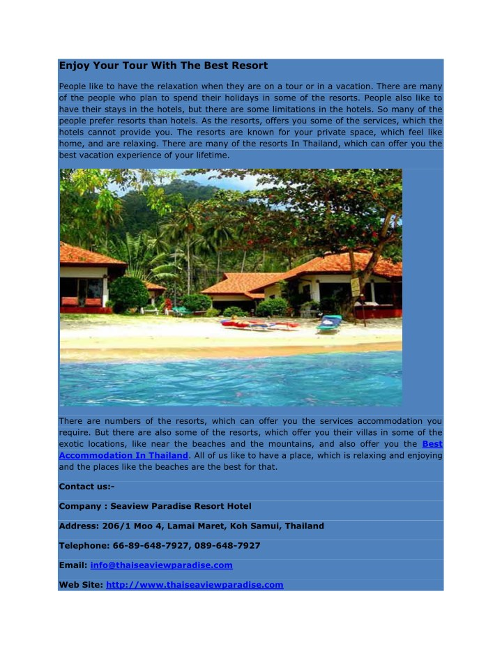enjoy your tour with the best resort n.