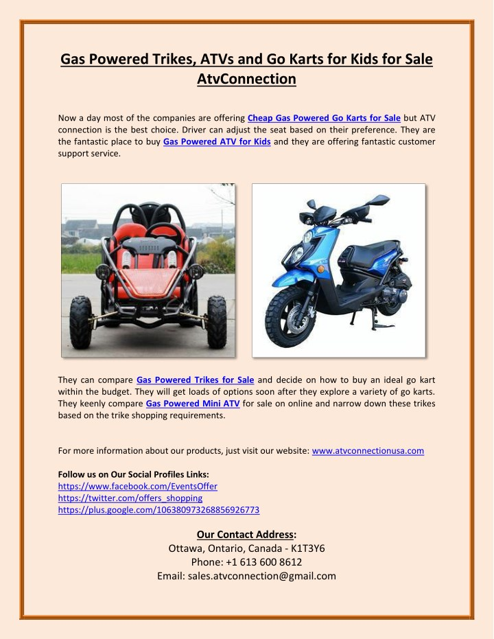 PPT - Gas Powered Trikes, ATVs and Go Karts for Kids for