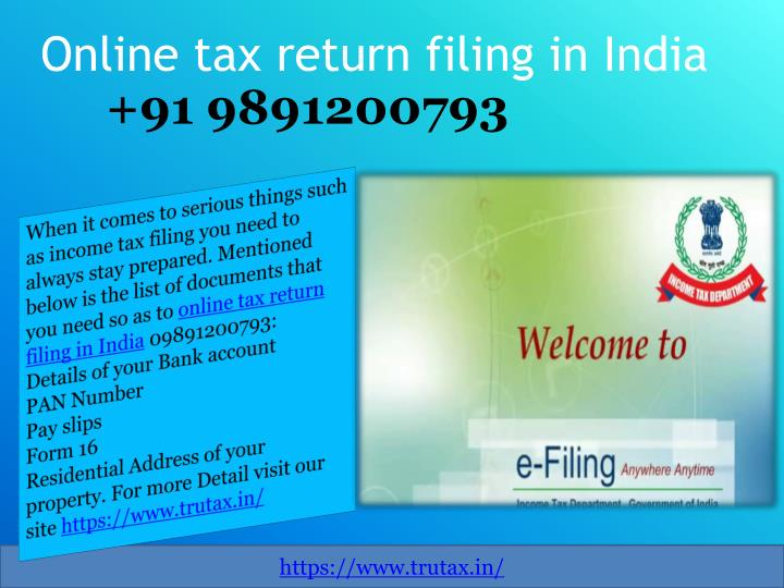 PPT - Documents Needed for Online tax return filing in India
