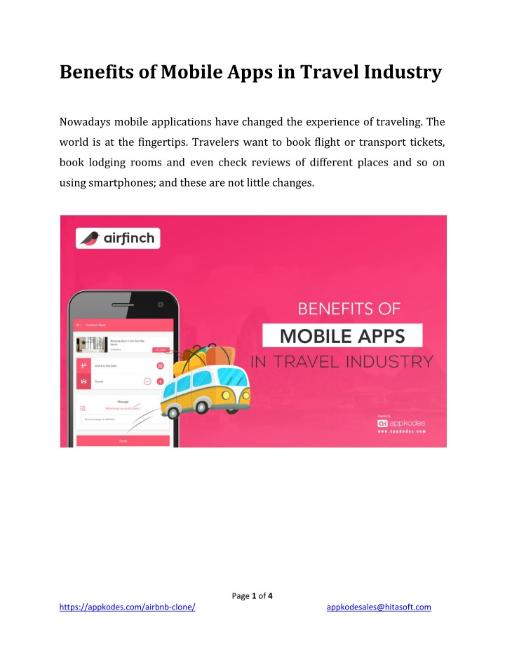 benefits of mobile apps in travel industry n.