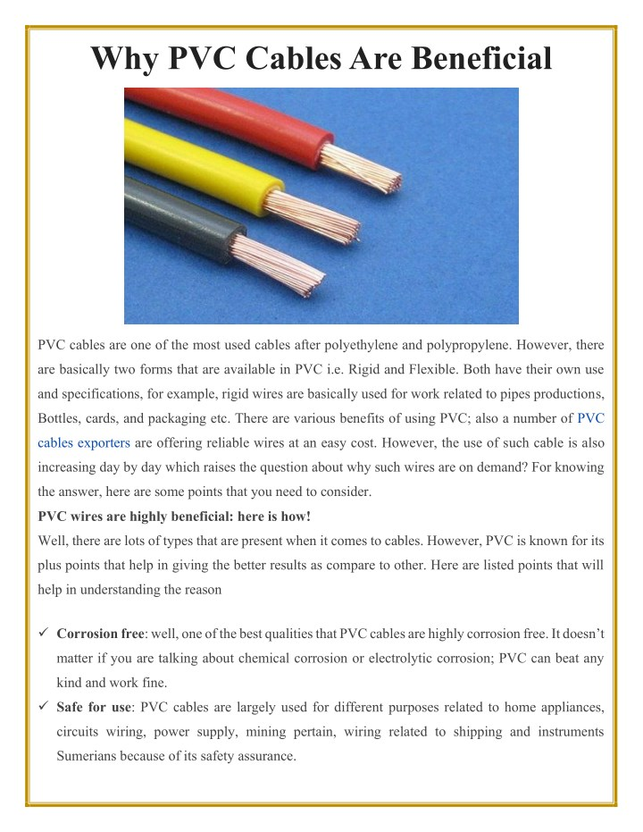 PPT - Why PVC Cables Are Beneficial PowerPoint Presentation ... Why Wiring Is Used on