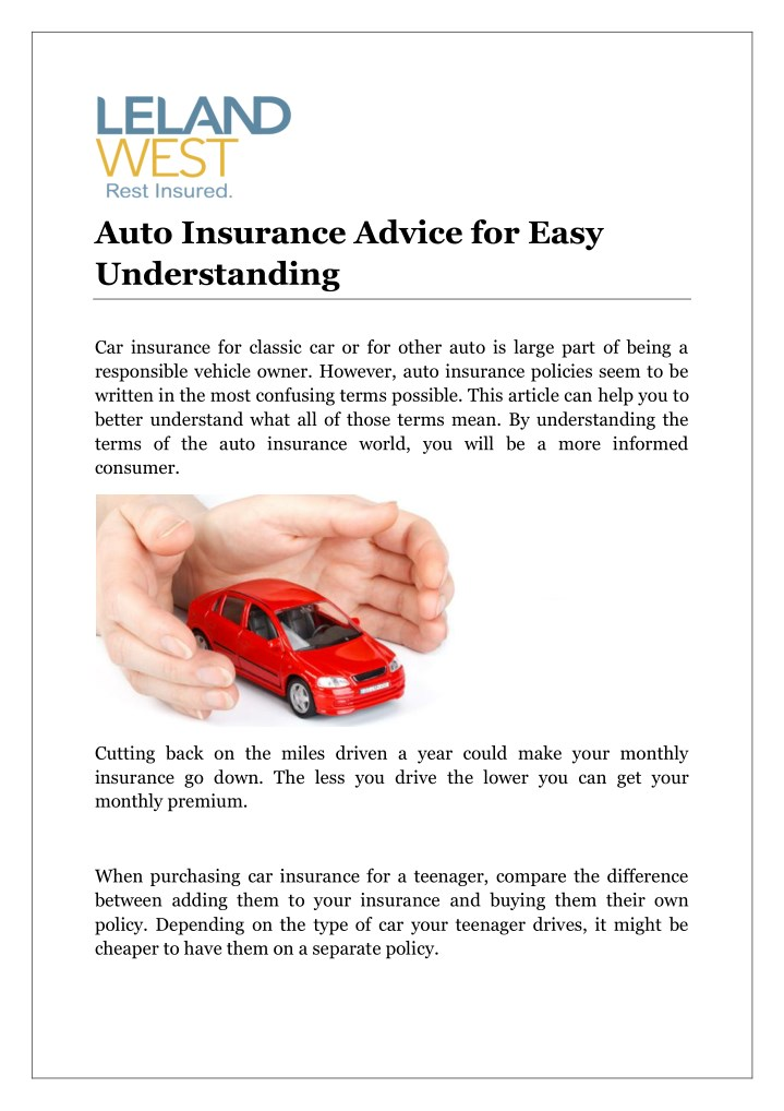 auto insurance advice for easy understanding n.