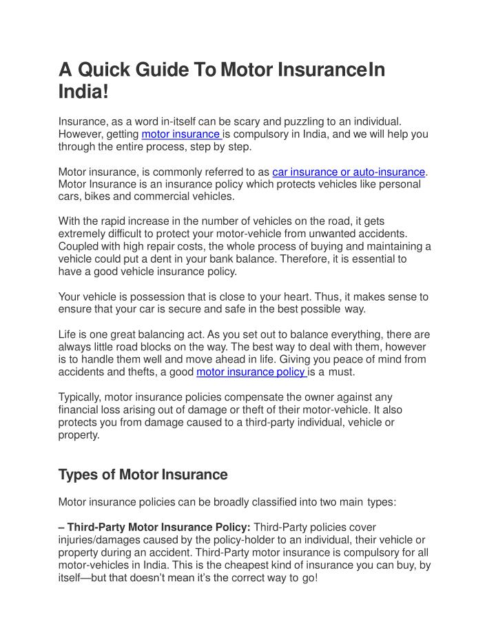 a quick guide to motor insurance in india n.