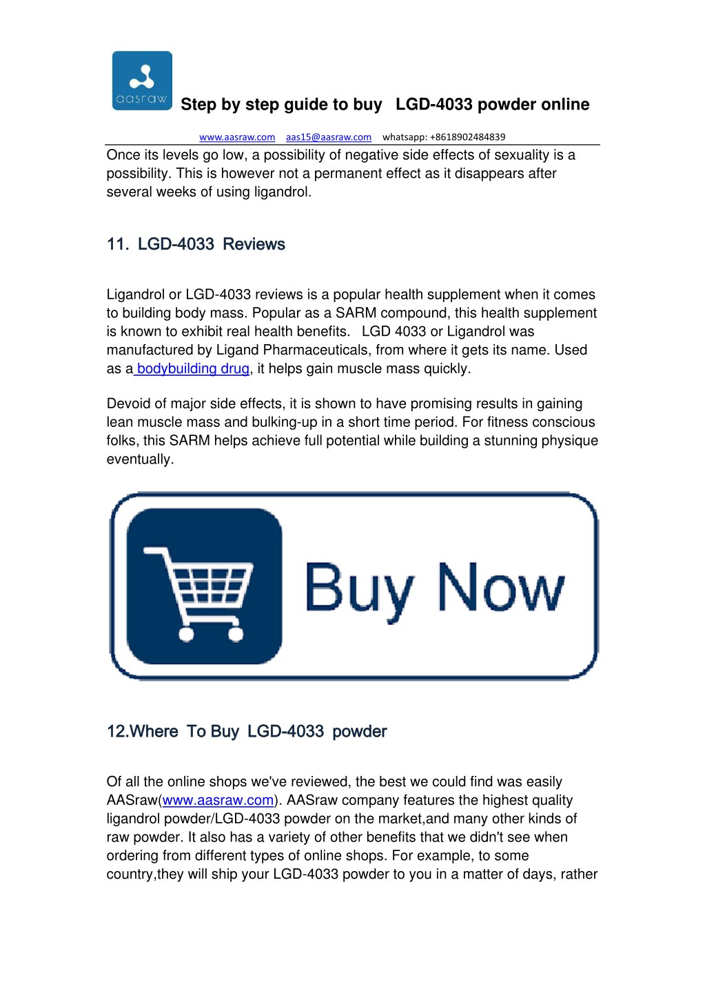 PPT - Step by Step Guide to Buy LGD-4033 Powder Online - AASraw