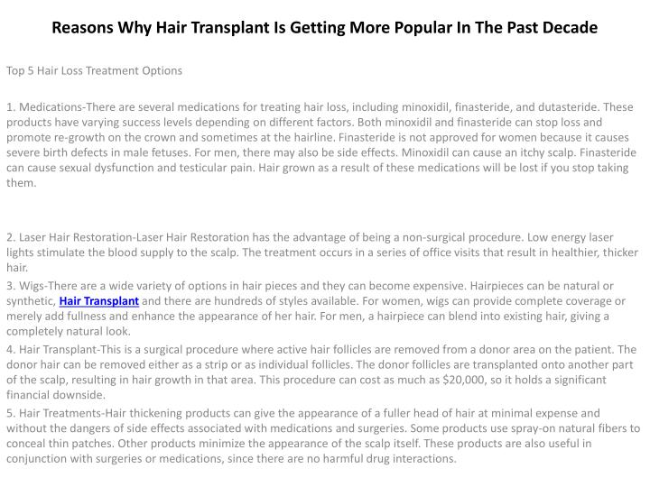 reasons why hair transplant is getting more popular in the past decade n.