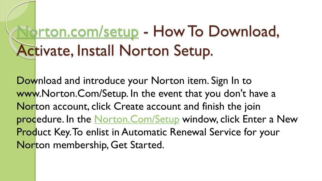 PPT - Norton com/setup by www Norton com/setup PowerPoint