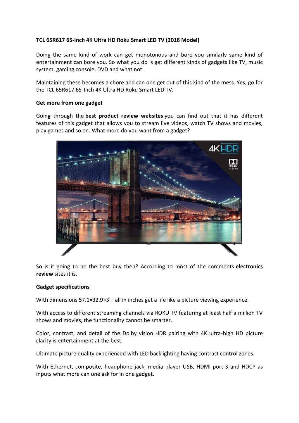Ppt Tcl 65r617 65 Inch 4k Ultra Hd Roku Smart Led Tv Reviews