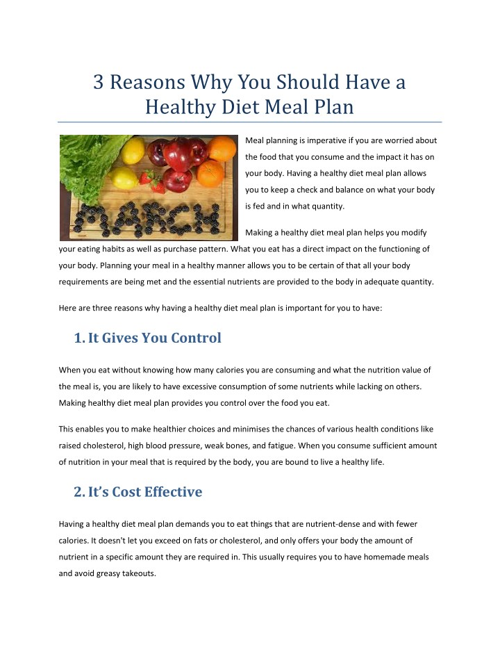 Ppt 3 Reasons Why You Should Have A Healthy Diet Meal Plan Powerpoint Presentation Id 7854890