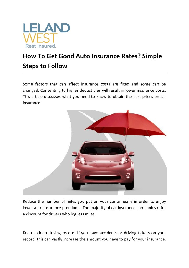 how to get good auto insurance rates simple steps n.