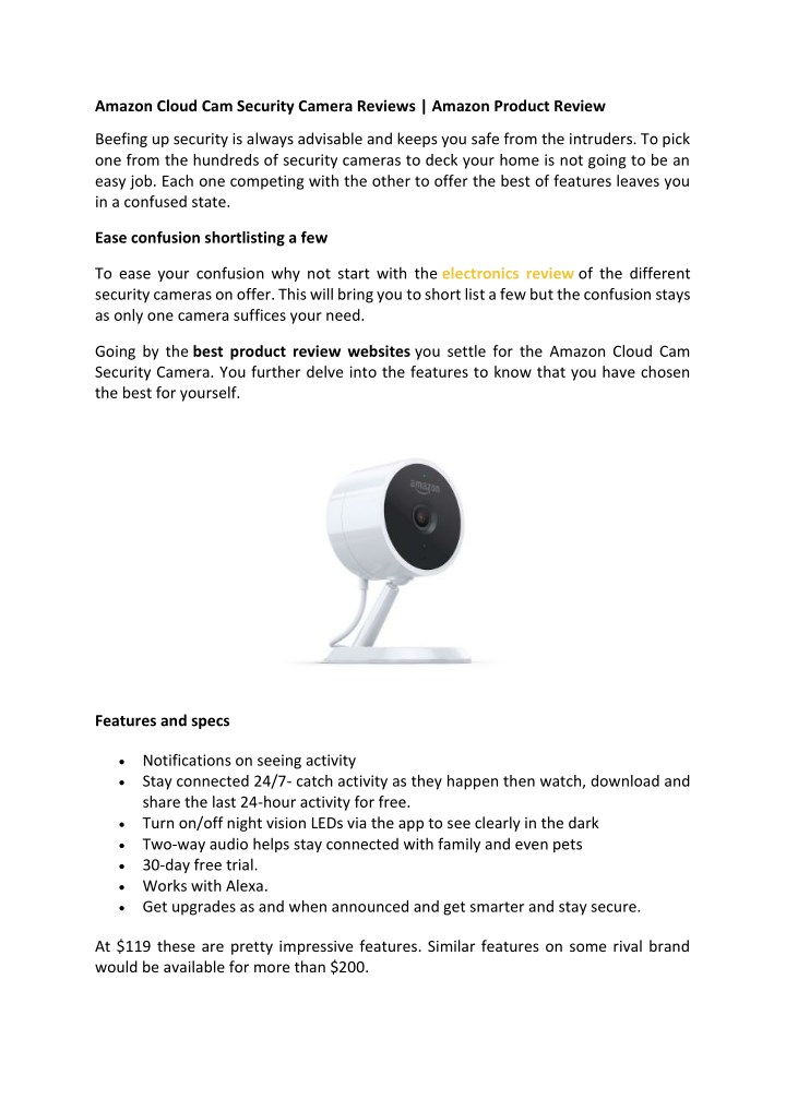 amazon cloud cam security camera reviews amazon n.