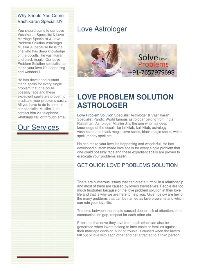 PPT - love marriage problem solution baba ji PowerPoint
