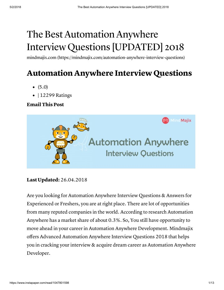 PPT - Automation Anywhere Interview Questions And Answers