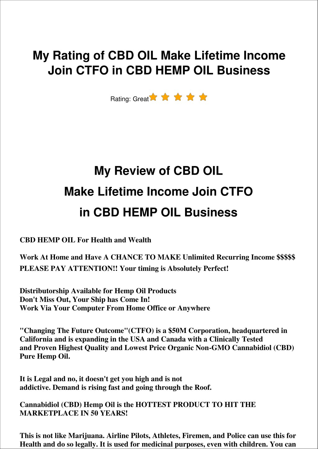 PPT - CBD OIL Make Lifetime Income Join CTFO in CBD HEMP OIL