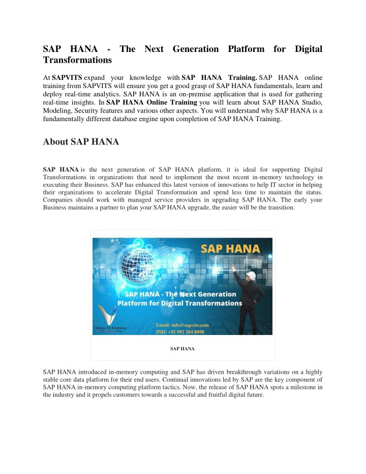 PPT - SAP HANA Training Material PDF PowerPoint Presentation