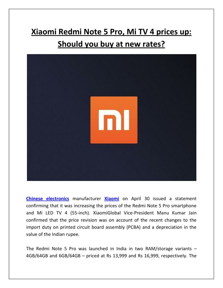 PPT - Xiaomi Redmi Note 5 Pro, Mi TV 4 prices up: Should you