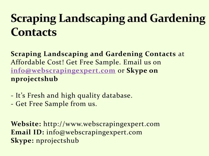 scraping landscaping and gardening contacts n.
