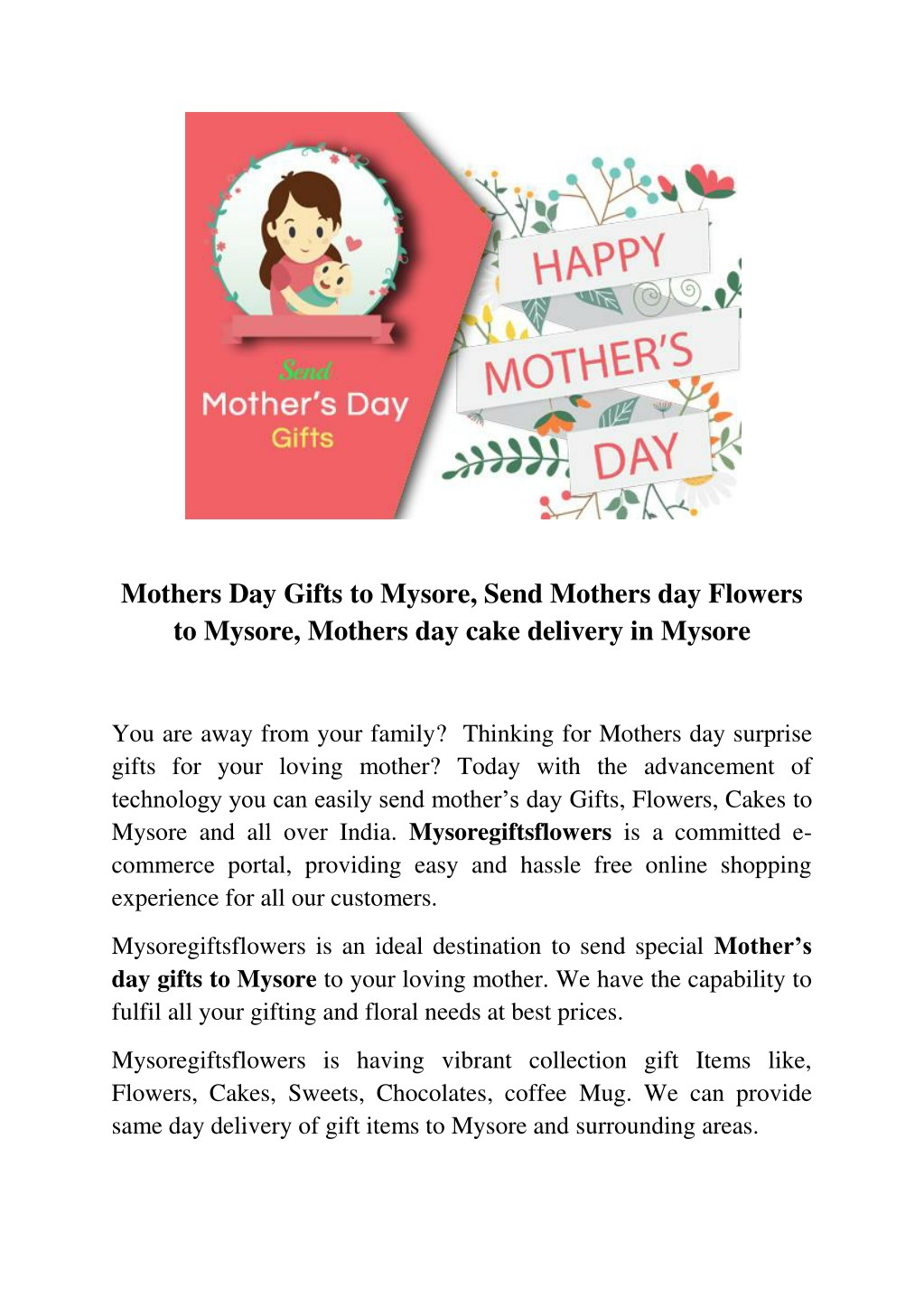 mothers day gifts to mysore send mothers n.