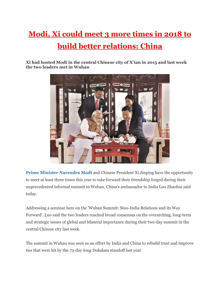 modi xi could meet 3 more times in 2018 to n.