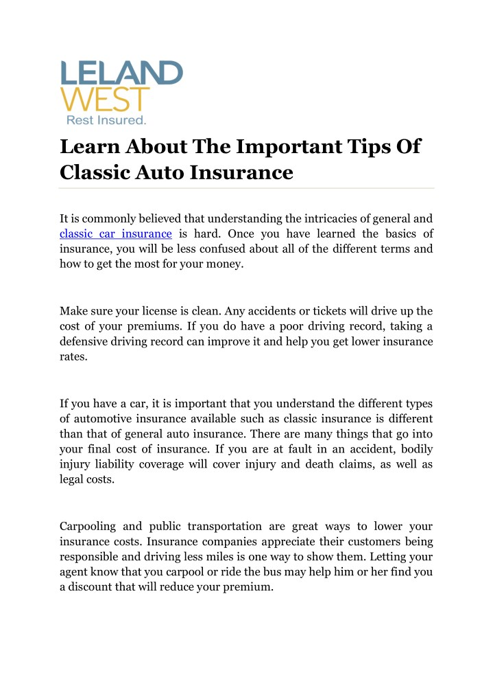 learn about the important tips of classic auto n.