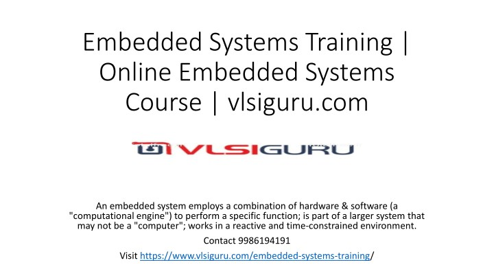 PPT - Embedded Systems Training institute in Bangalore