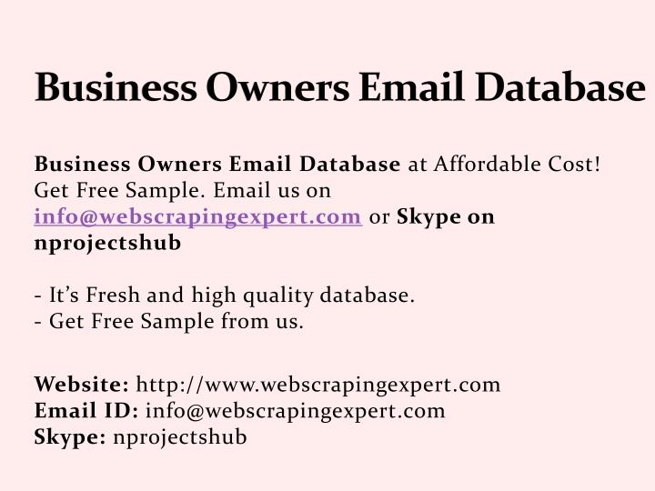 PPT - Business Owners Email Database PowerPoint Presentation