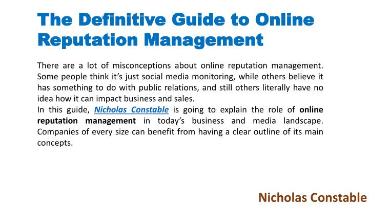 the definitive guide to online reputation n.