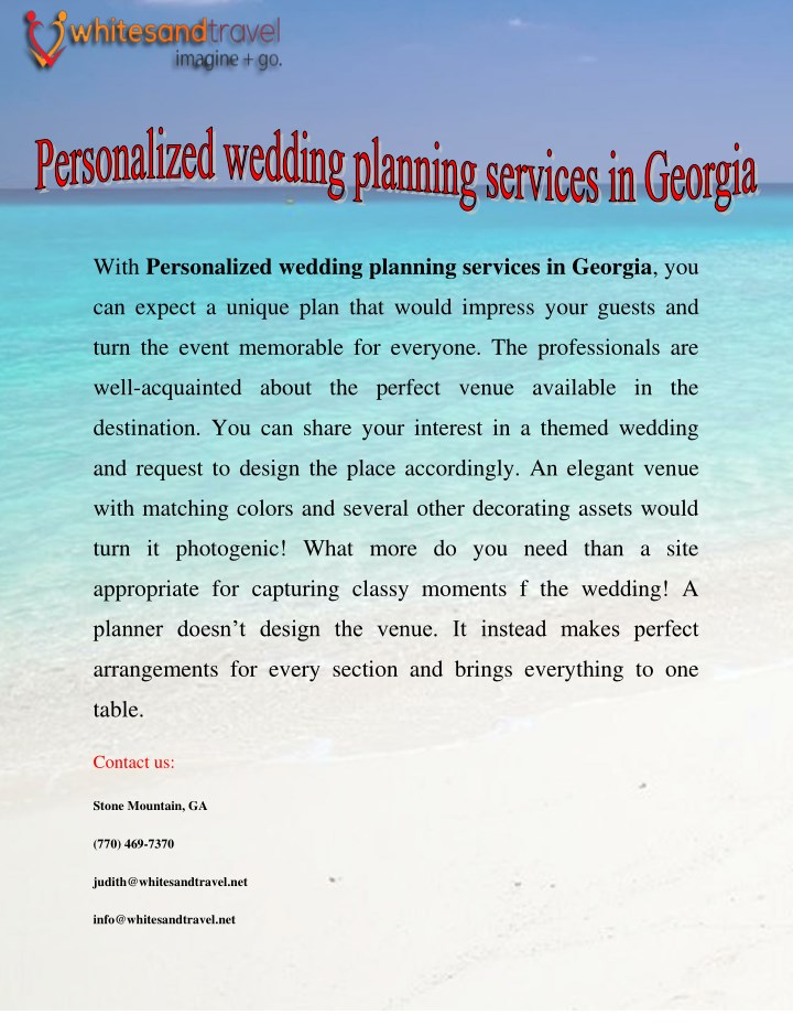 with personalized wedding planning services n.