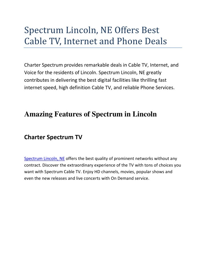Charter Phone Service >> Ppt Spectrum Lincoln Ne Offers Best Cable Tv Internet